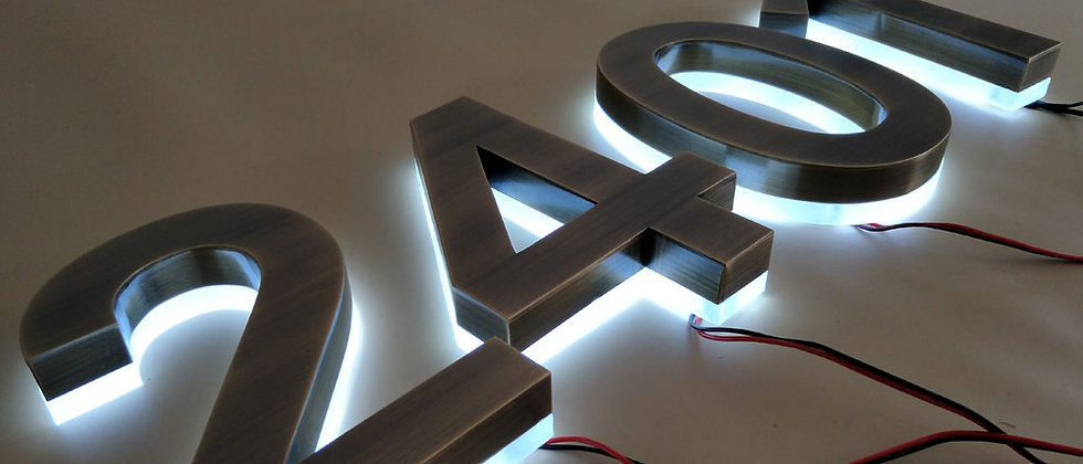 Custom stainless steel led backlit signs light up letters outdoor house number