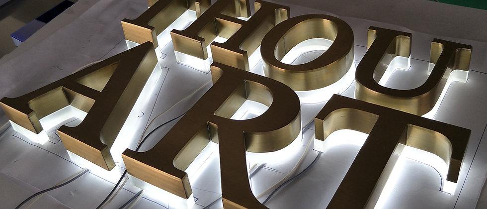 Custom Stainless steel reverse-lit letters galvanized golden color white lights