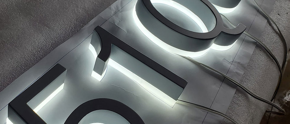 top quality backlit grey painted 304 SUS led channel letter shopfront numbers