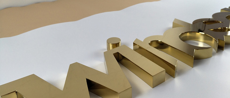 Golden mirror face 3D advertising channel letters rose golden matal signs