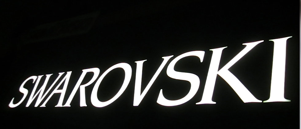 Brushed stainless steel sides acrylic face frontlit letters signs Swarovski logo