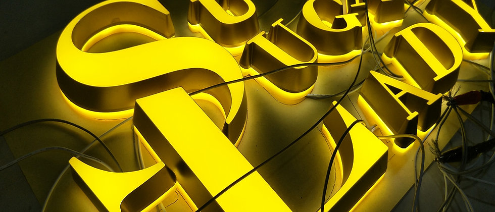 Face and back(halo)-lit letters with LEDs PMMA yello light glow up signs