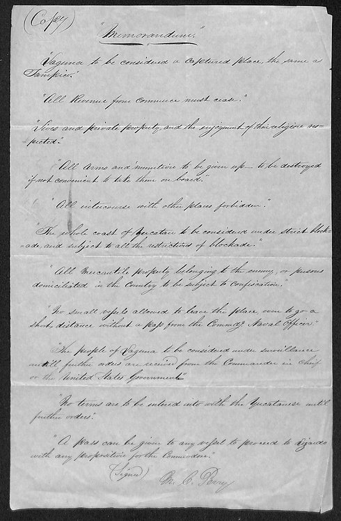 Mexican War Military Orders for Occupation of Laguna Mexico