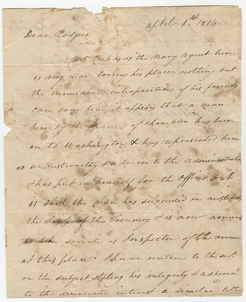 Stephen Decatur Writes John Rodgers Trying to Save a Friend's Career