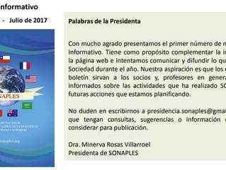 Primer Boletín Informativo SONAPLES