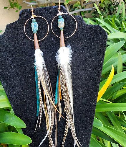 Green Agate & Copper Feather Earrings