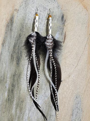 Amber & Bone Feather Earrings
