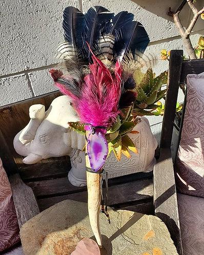 Purple Agate Smudge Fan