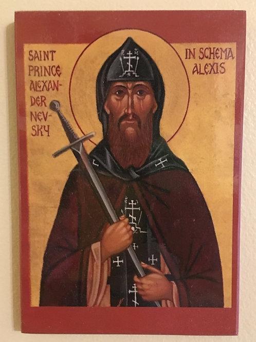 Religious Icon of Russian Orthodox Saint Alexander Nevsky