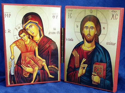 Diptych Icon of Christ & Theotokos