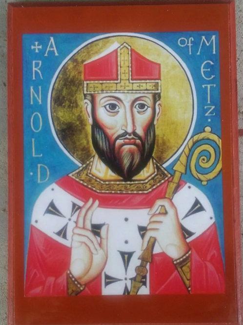 Eastern Orthodox Icon of Saint Arnold of Metz for Orthodox, Russian, Catholic, Byzantine worship
