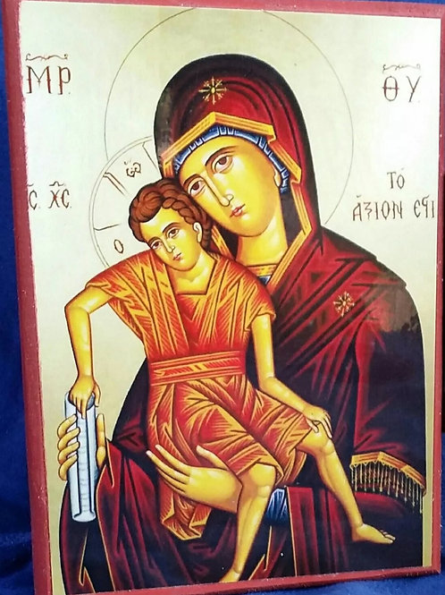 Icon of Theotokos, Print on wood