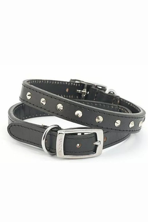 Ancol Black Leather Studded Collar