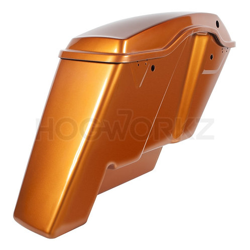 "2-Into-1 Extended 4"" Stretched Saddlebags Harley '14-'20 Touring - Amber Whiskey"