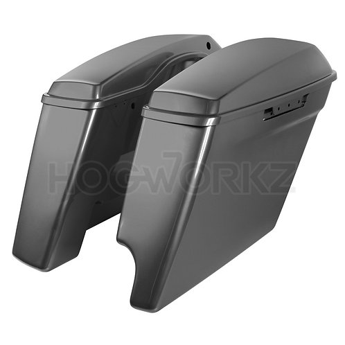 "2-Into-1 Extended 4"" Stretched Saddlebags Harley '14-'20 Touring - Charcoal Pear"