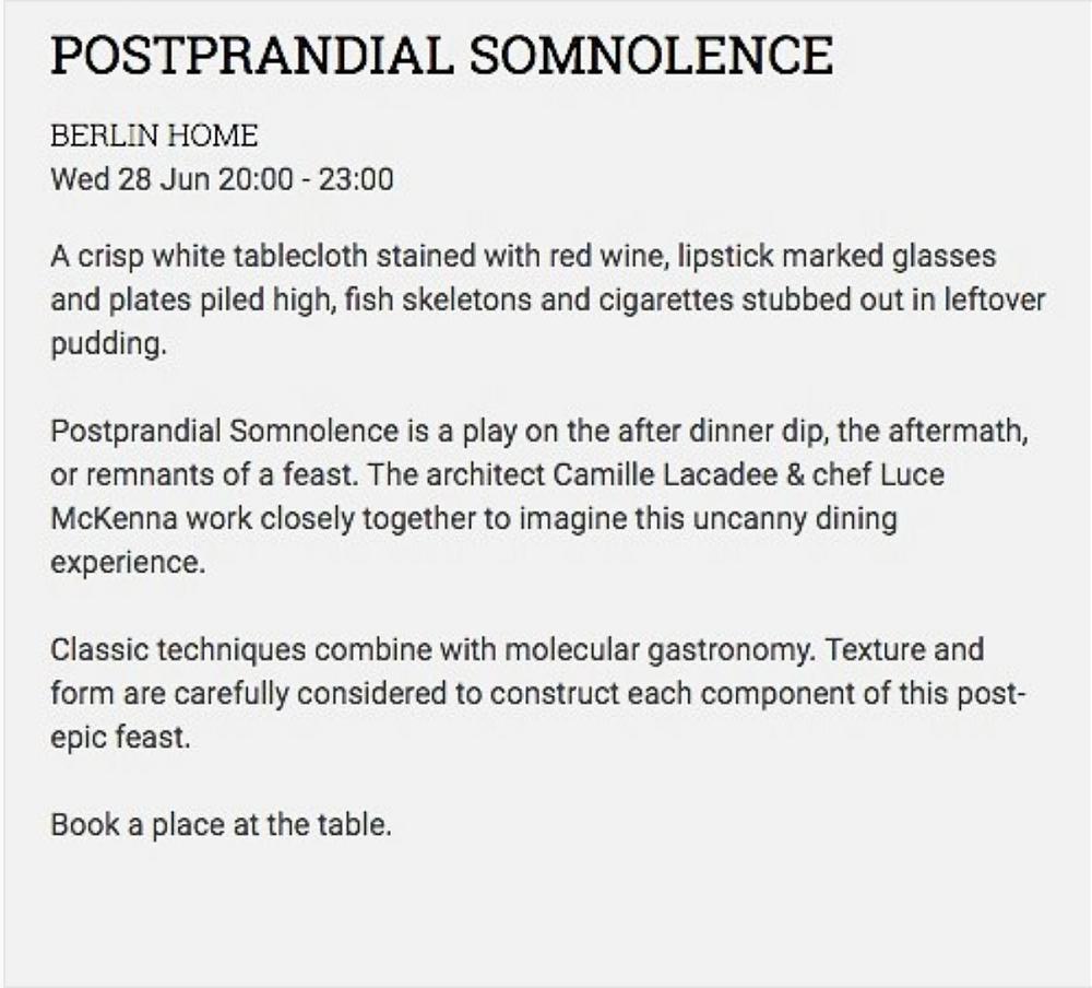Postprandial Somnolence, the event | https://www.instagram.com/luce__concept/