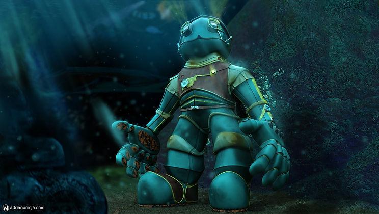 robot, setampunk, concept art, amphibious, adriano ninja