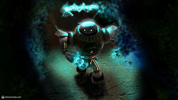 robot, steampunk, concept art, shockwizard, adriano ninja