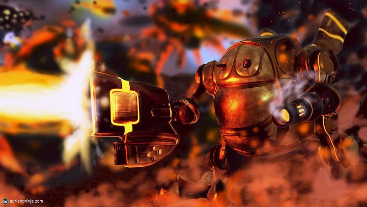 robot, steampunk, concept art, firestorm, adriano ninja