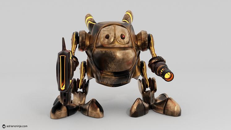 robot, steampunk, concept art, firestorm