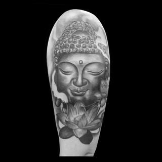 Buddha with Lotus half sleeve