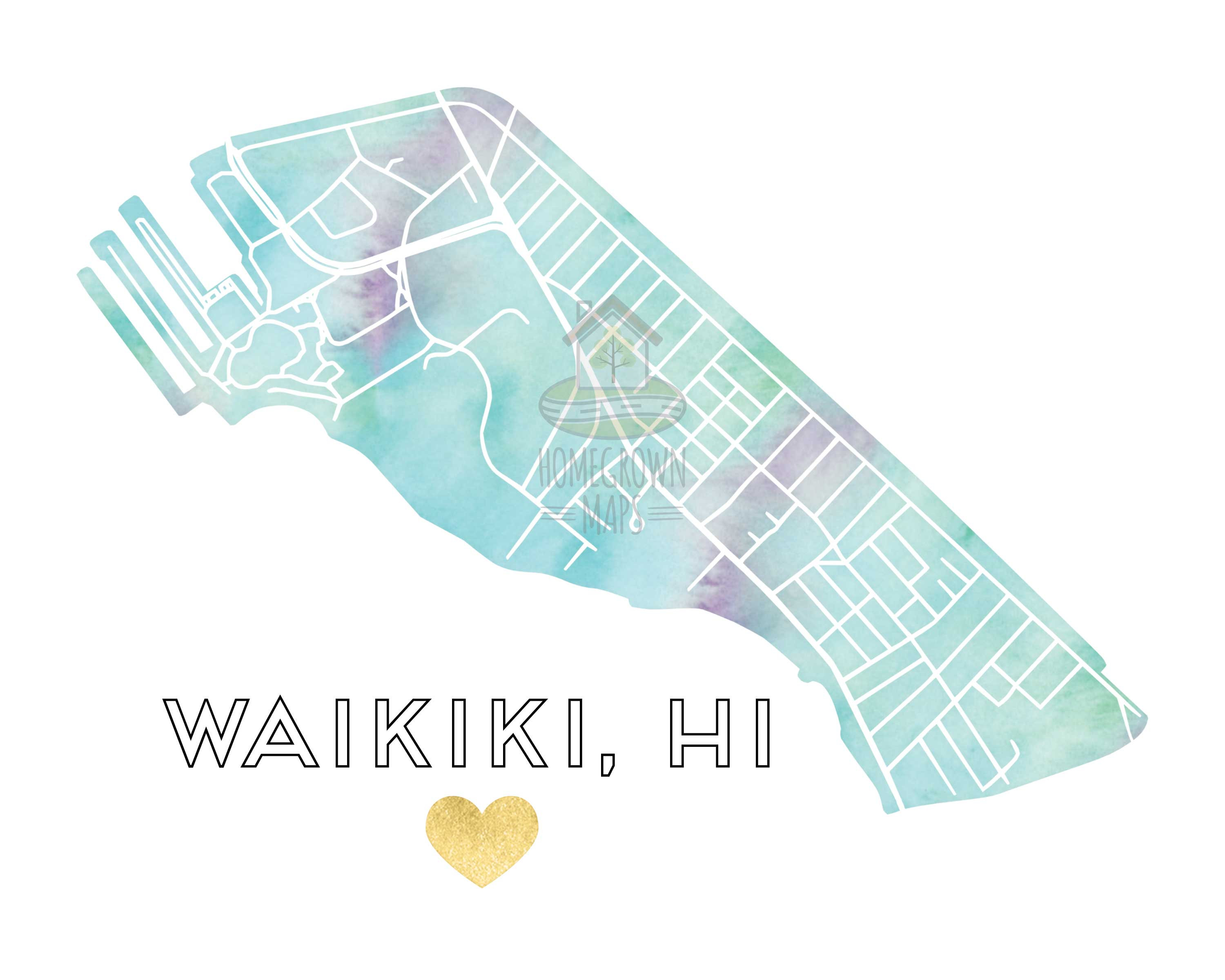 graphic about Printable Map of Waikiki referred to as Waikiki, Hawaii Watercolor Gold Foil Highway Map Print