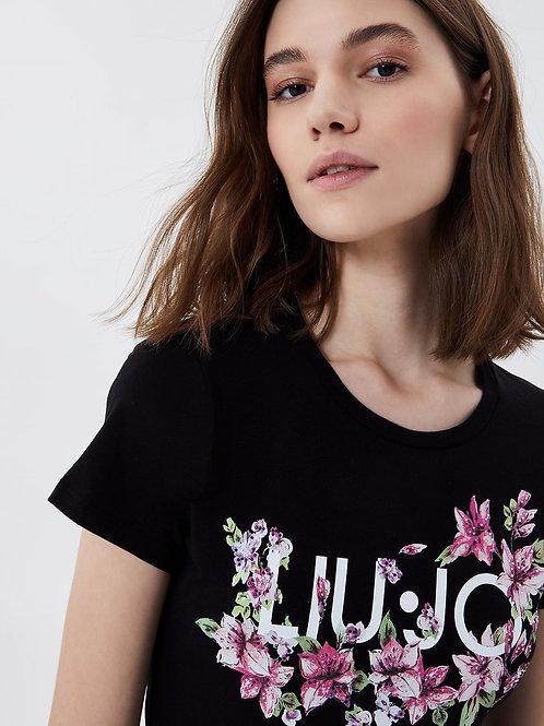 T-shirt avec imprimé et applications Liujo
