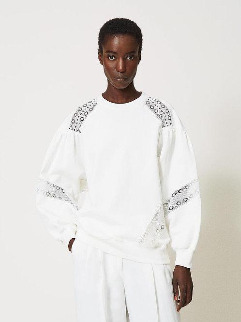 Sweat-shirt avec incrustations en dentelle TWINSET