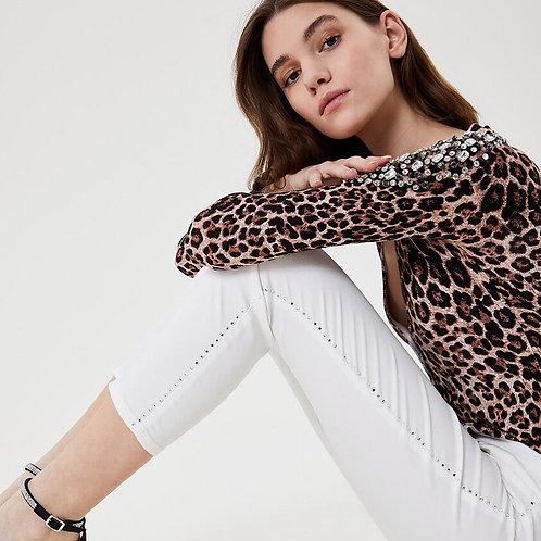 Pantalon cropped avec applications Liujo