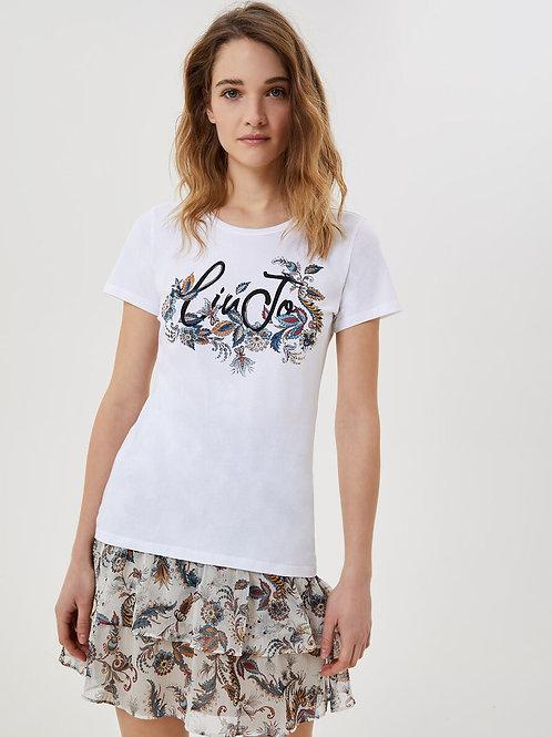 T-shirt avec imprimé et applications