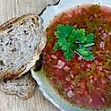 Borș de lobodă roșie cu leuștean, pâine cu maia, 300ml