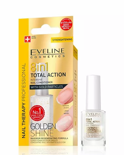 Eveline Nail Therapy Conditioner 8 In 1 Golden Shine 12ml - lindecosmetics.com