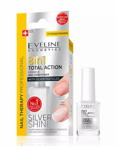 Eveline Nail Therapy Conditioner 8 in 1 Silver Shine 12ml - lindecosmetics.com
