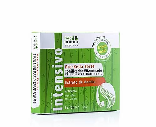 Real Natura Tonificador Vitaminado Pro-Keda Forte 6x15m -Ampolas Anti-Queda 6x15ml - lindecosmetics.com