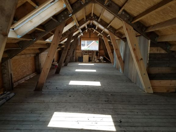 upstairs in barn