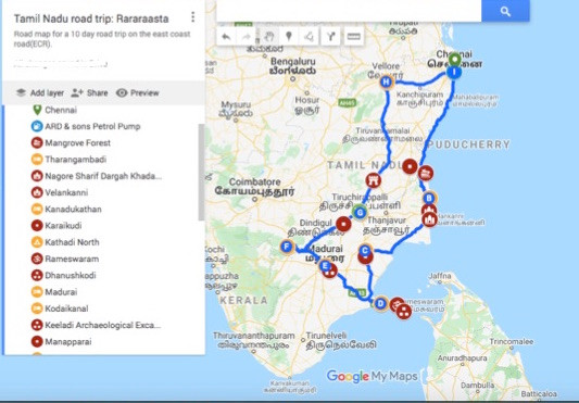 A complete map for road trip in Tamil Nadu