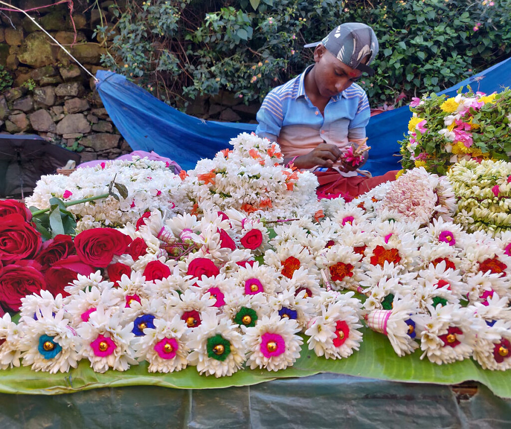 colorful flower arrangement, sunday market