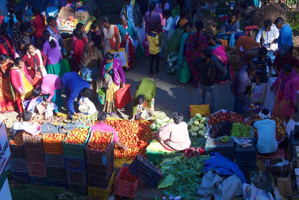 busy colorful market scene on sunday,kodaikanal