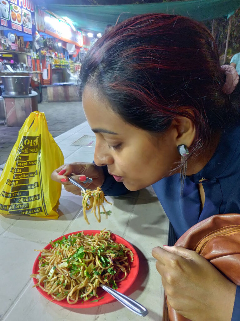 Ranjani eating chowmein