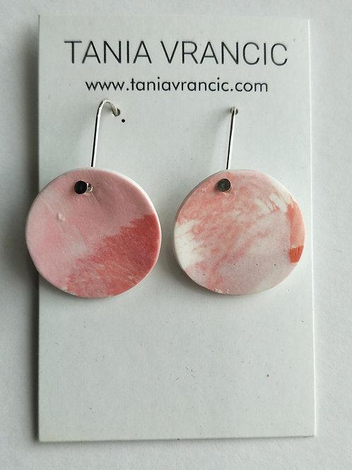 Tania Vrancic | Printed Porcelain Small Drop Earings Orange Pink