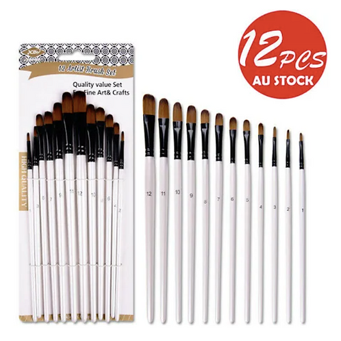 12pcs Filbert Art Paint Brush Set Nylon Hair Watercolor Acrylic Oil