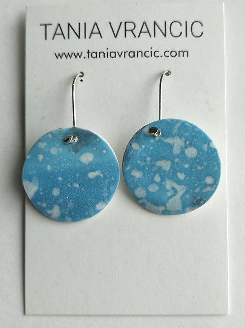 Tania Vrancic | Printed Porcelain Small Drop Earings Blue
