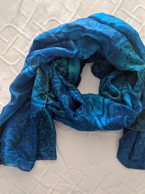 Silk scarf overdyed in Blue