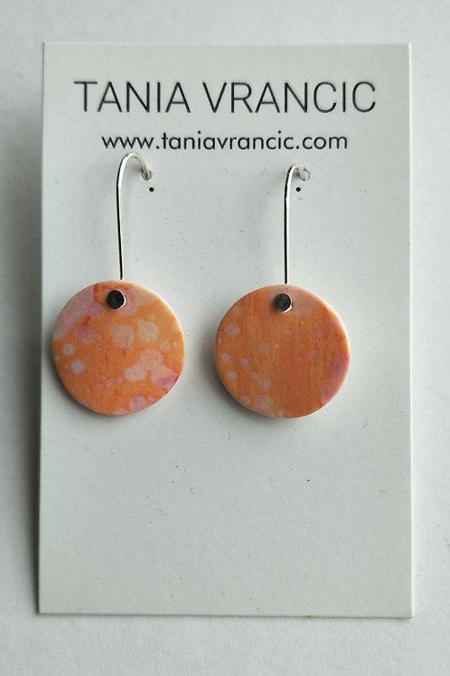 Tania Vrancic | Printed Porcelain Small Drop Earings Orange