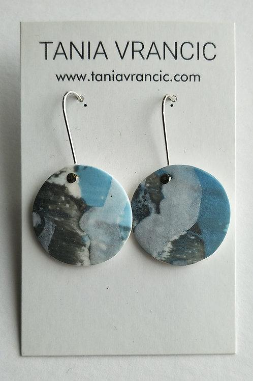 Tania Vrancic | Printed Porcelain Medium Drop Earings Blue/Grey