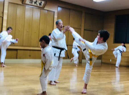 11 years old boy traveled to Japan to practice at Itosu-kai Headquarters!