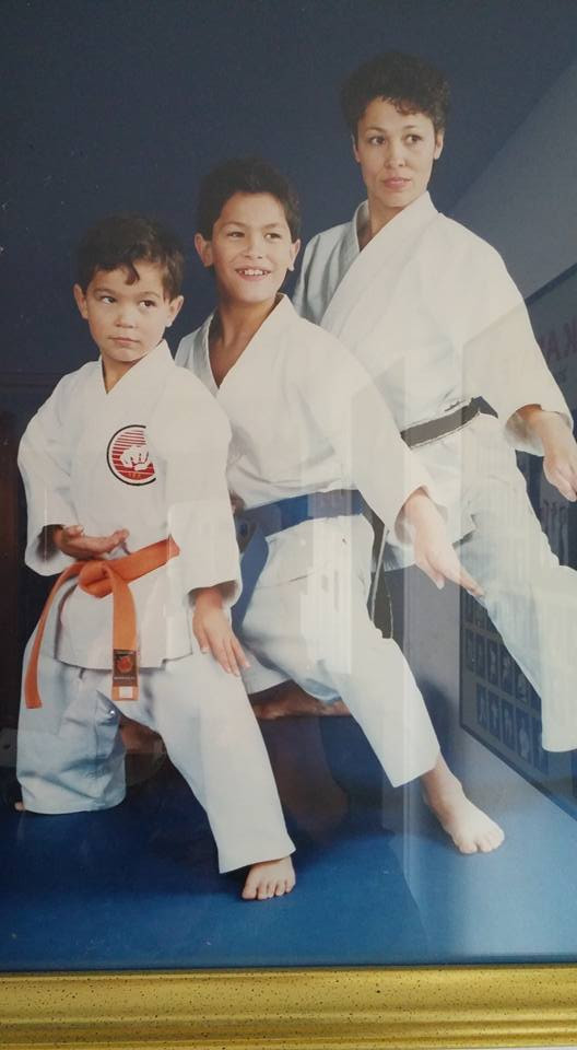 Sensei Joni and her children when she opened a dojo