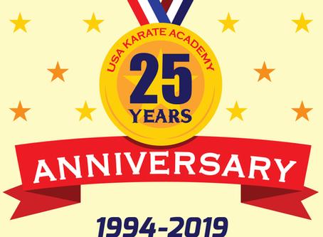 USA Karate Academy of Washington USA is celebrating their 25th Anniversary.