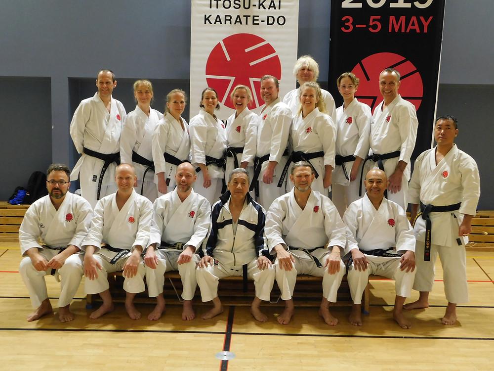 With Swedish members at Itosu-kai Black Belt Seminar in Sweden