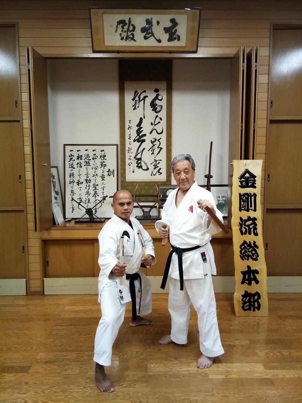 With Soke Sakagai at Itosu-kai Headquarters